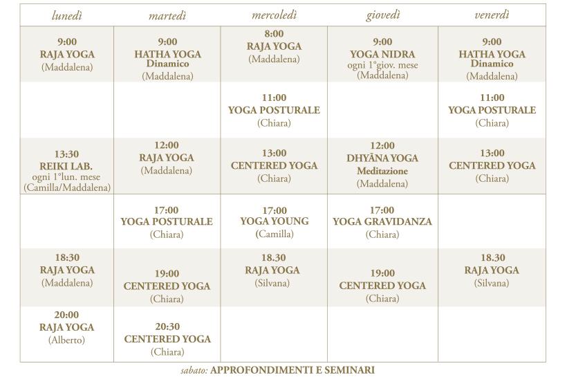 orario corsi yoga 2019