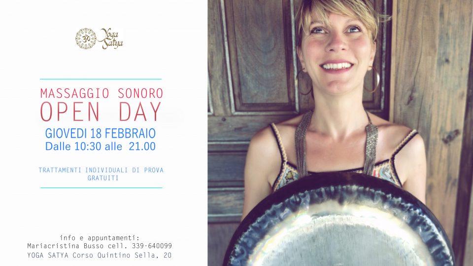 Open Day Febbraio Yoga Torino Massaggio Sonoro gratuito